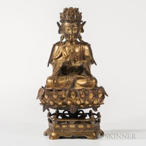 Cast Gilt-bronze Figure of Guanyin and Stand