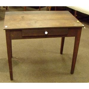 Cherry Taper-leg Side Table with Drawer.
