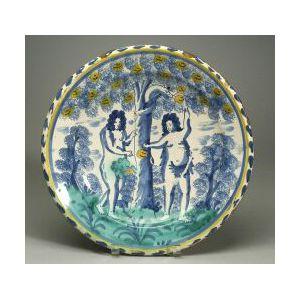 Delftware Adam and Eve Blue Dash Charger