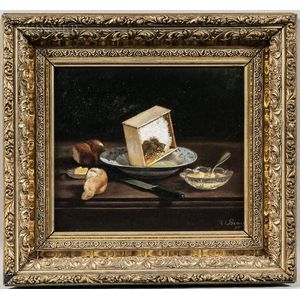 American School, 19th Century      Two Framed Still Life Paintings:   Still Life with Bread
