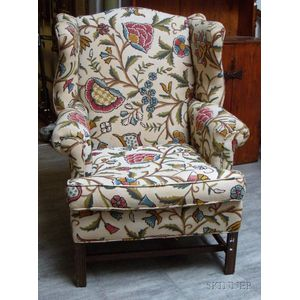 Georgian-style Crewel-work Upholstered Mahogany-finished Wood Wing Chair.