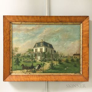 Framed Oil on Canvas Architectural Portrait of a House