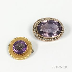 Two Amethyst Brooches