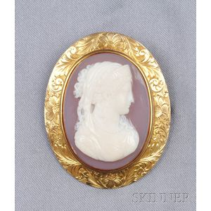 Antique 14kt Gold and Hardstone Cameo Brooch