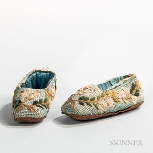 Pair of Miniature Needlework Slippers