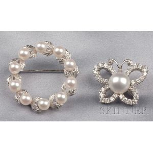Two Cultured Pearl Pins