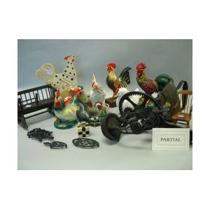 Group of Cast Iron Trivets, Irons, Ceramic and Decorated Rooster Figures, a Pair of Andirons, Kitchen Items and Miniature Furniture.
