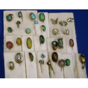 Thirty-one Mostly Sterling Silver, Turquoise, Malachite, and Various Other Hardstone Stickpins.