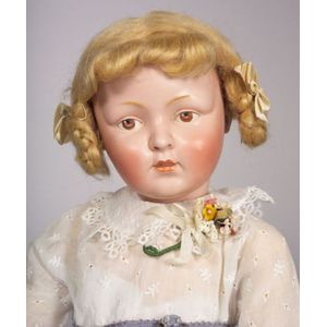 Large Unusual Bisque Head Kestner Character Child Doll