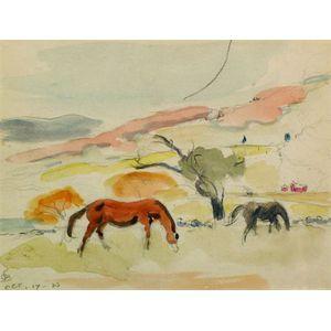 Oscar Florianus Bleumner (American, 1867-1938)    Grazing Horses in Connecticut