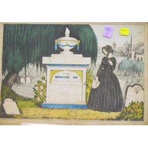 Framed N. Currier Hand-colored Lithograph In Memory of...