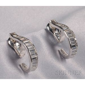 14kt White Gold and Diamond Hoop Earclips