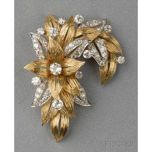 18kt Gold, Platinum, and Diamond Brooch, Raymond Yard