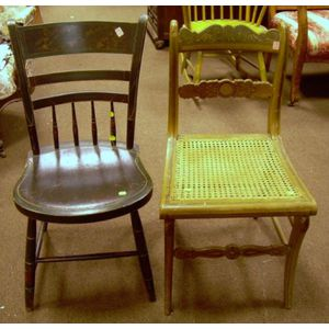 Paint Decorated Side Chair and a Grained and Stenciled Thumb-back Side Chair.
