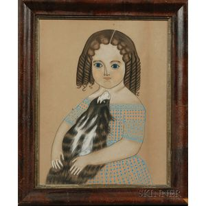American School, 19th Century      Portrait of a Girl with Her Dog.