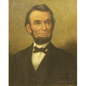 Framed Oil on Canvas C. H. Hankins Portrait of Lincoln.      Estimate $600-800