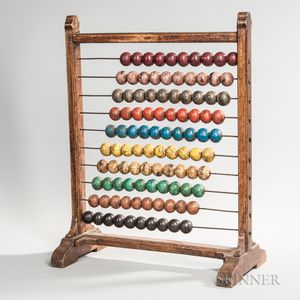 Large Standing Abacus with Ten Sets of Counting Beads