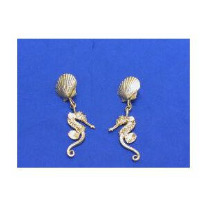 Pair of 14kt Gold Seahorse and Scallop Shell Earpendants.