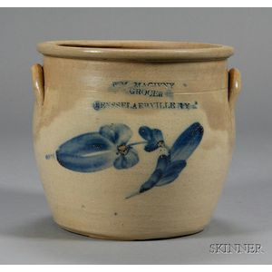 Cobalt Decorated Advertising Stoneware Crock