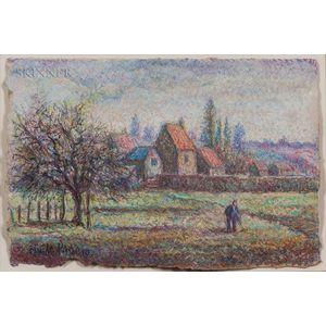 Hugues Claude Pissarro (French, b. 1935)      Village Life