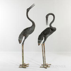 Pair of Bronze Garden Cranes