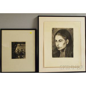American/Continental School, 19th/20th Century      Four Etchings:   Raphael Soyer (American, 1899-1987), Head of a Woman