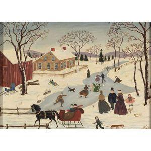 Albert Webster Davies (New Hampshire, 1889-1967)  Winter Skating Scene.