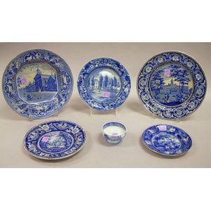 Six Assorted English Blue and White Transfer Decorated Staffordshire Tableware   Items