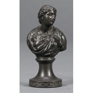 Miniature Wedgwood and Bentley Black Basalt Bust of Ariadne