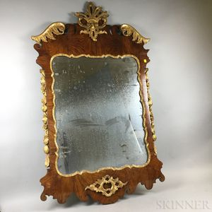 George III Carved and Gilt Walnut Veneer Mirror