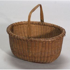 Oval Woven Nantucket Basket with Handle
