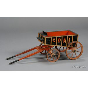 "Miniature Polychrome Painted Wooden ""COAL"" Wagon"