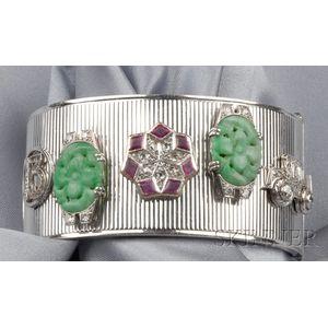 14kt White Gold Gem-set Cuff Bracelet