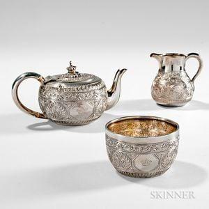 Three-piece Victorian Sterling Silver Tea Service