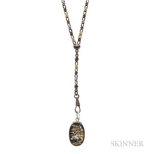 Antique Mixed-metal Watch Chain with Shakudo Pendant