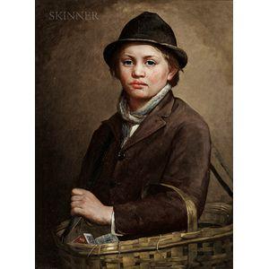 Charles Noel Flagg (American, 1848-1916)      Portrait of a Peddler Boy with a Basket