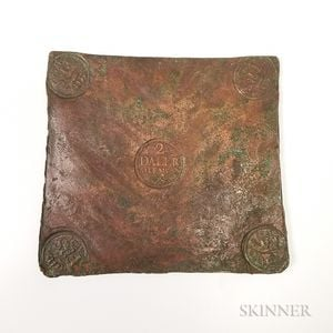 1721 Swedish Frederik I 2 Daler Copper Plate Money.     Estimate $600-800