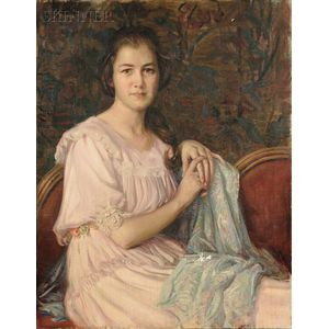 William Cushing Loring (American, 1879-1959)      Portrait of Charlotte Waldron Hause, Age 15