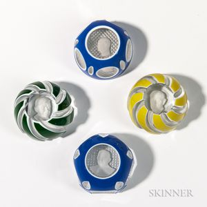 Four Baccarat Sulphide Overlay Paperweights