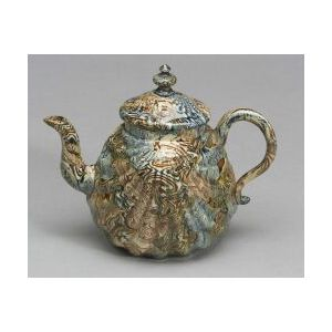 Staffordshire Solid Agate Pectin Shell Teapot and Cover