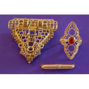 6kt White Gold Clip/Brooch, Platinum Ring Frame with Synthetic Ruby and   Diamond Melee, and a Small 14kt Gold Lacework Bar Pin.