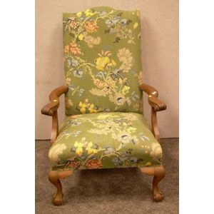 Georgian-style Upholstered Carved Mahogany Easy Chair.