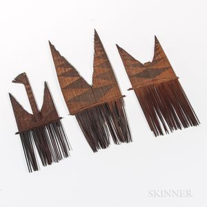Three Ornamental Hair Combs from the Solomon Islands