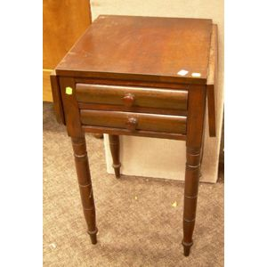 Maple Drop-leaf Two-Drawer Stand.