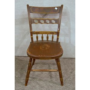 Paint Decorated Windsor Thumb-back Side Chair.