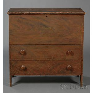 Grain-painted Pine Chest over Two Drawers
