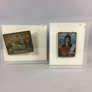 Two Framed and Mounted Painted Russian Icons
