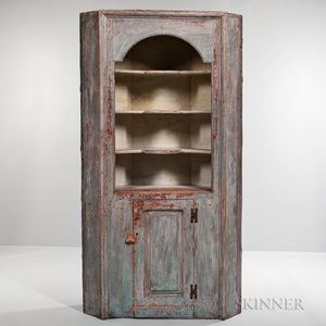 Early Blue/Gray-painted Pine Corner Cupboard