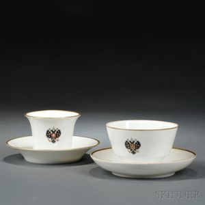 Two Russian Imperial Porcelain Factory Alexander III Coronation Service Cups   and Saucers
