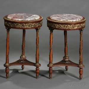 Pair of Neoclassical-style Marble-top and Brass-mounted Occasional Tables